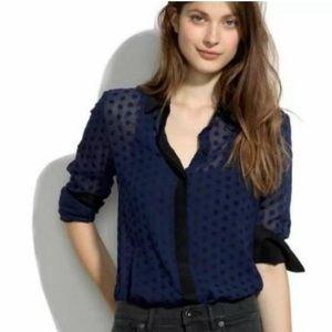 Madewell Silk & Velvet Dots Sheer Blouse
